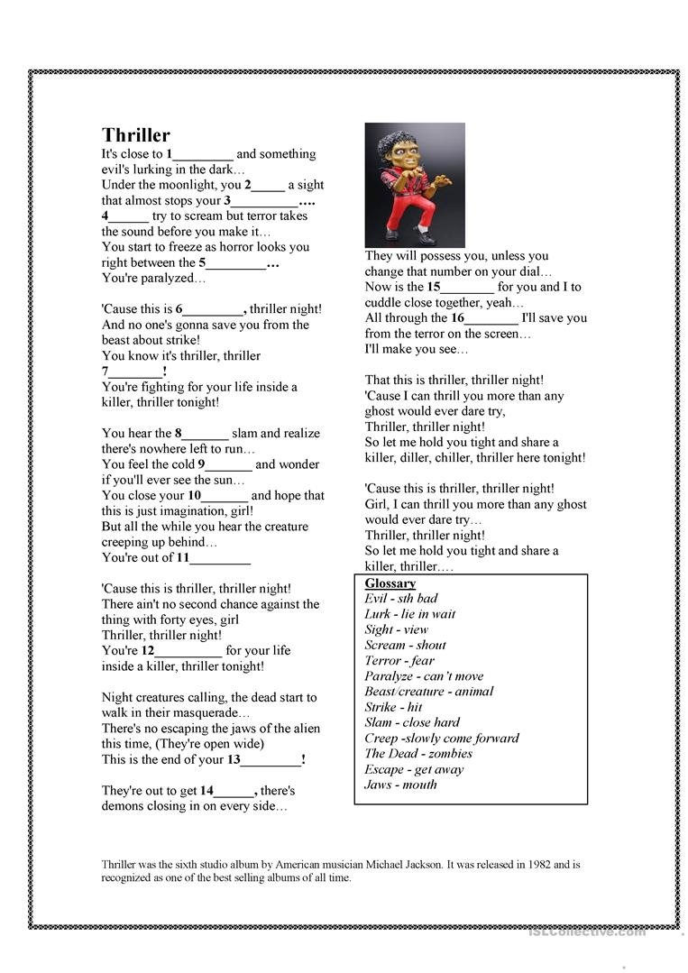 Halloween Song Thriller  Michael Jackson Worksheet  Free Esl Along With 4 30 Spelling Demons Worksheet Answers