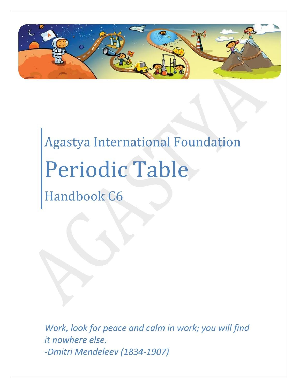 Handbook C6 Periodic Tableagastya International Foundation  Issuu For Periodic Table Magic Square Worksheet Answers