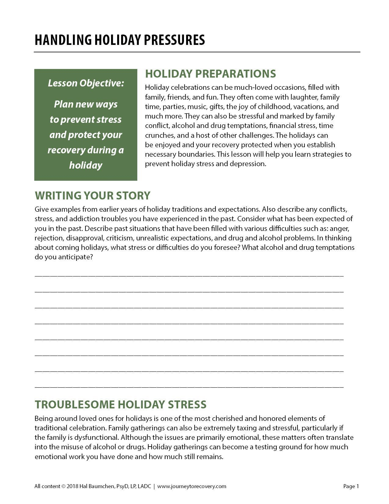 Handling Holiday Pressures Cod Worksheet  Journey To Recovery Regarding Holidays And Recovery Worksheet