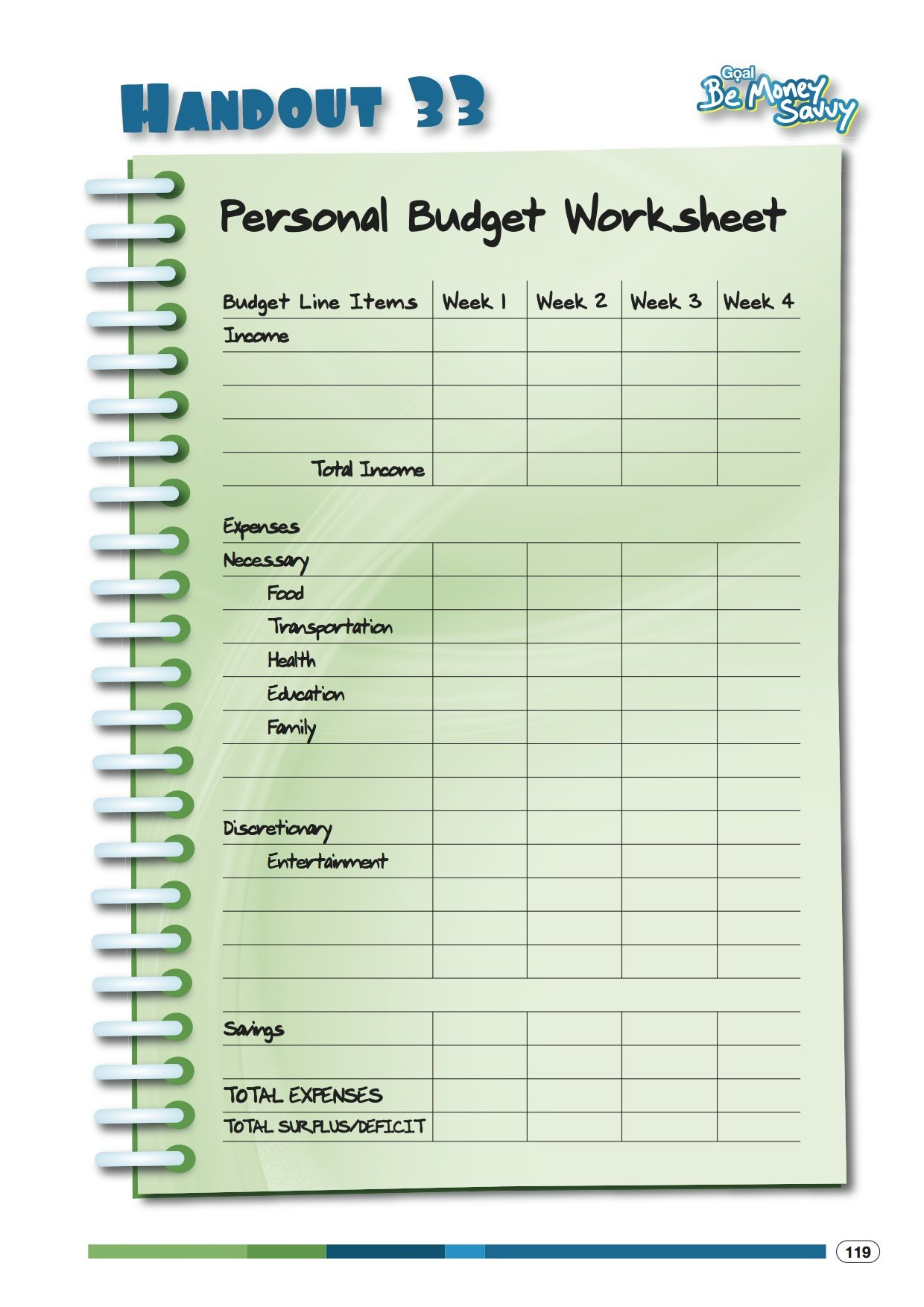 Personal Budget Worksheet — excelguider.com
