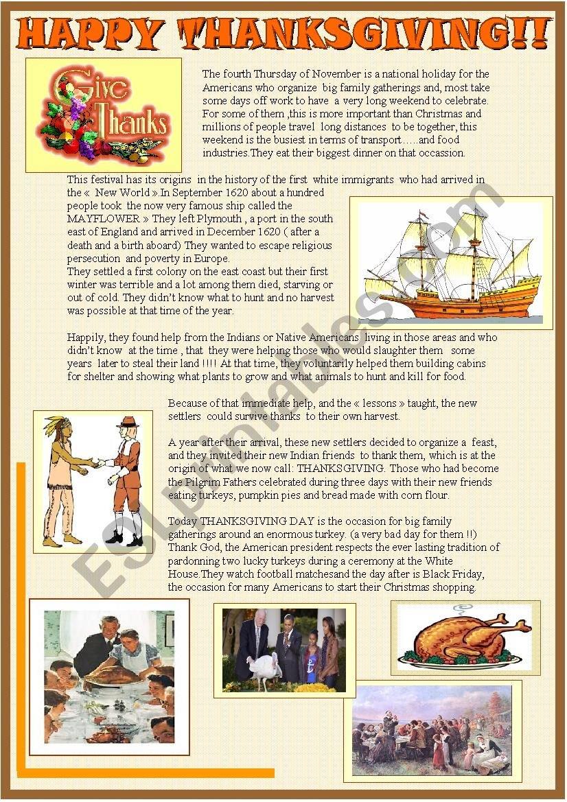 Happy Thanksgiving 2 Page Reading Comprehension  Esl Worksheet Also November Reading Comprehension Worksheets