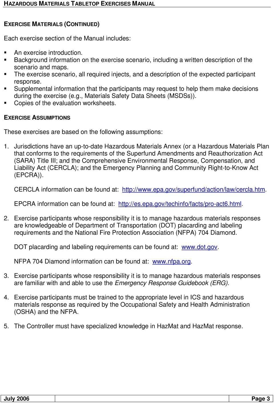 Hazardous Materials Tabletop Exercises Manual  Pdf Or Emergency Response Guidebook Worksheet