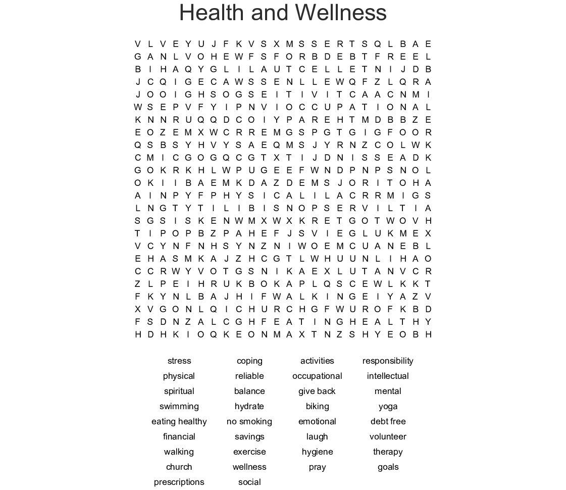 Health And Wellness Word Search  Wordmint Throughout Health And Wellness Printable Worksheets