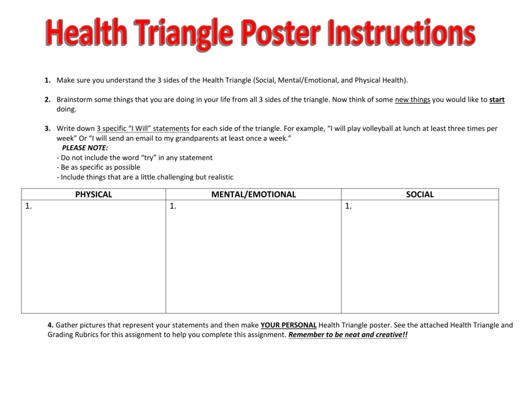 Health Triangle I Will Statements For Health Triangle Worksheet