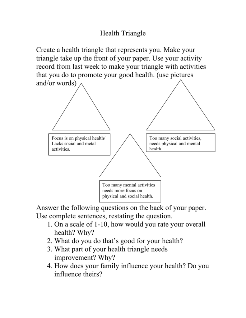 Health Triangle Pertaining To Health Triangle Worksheet
