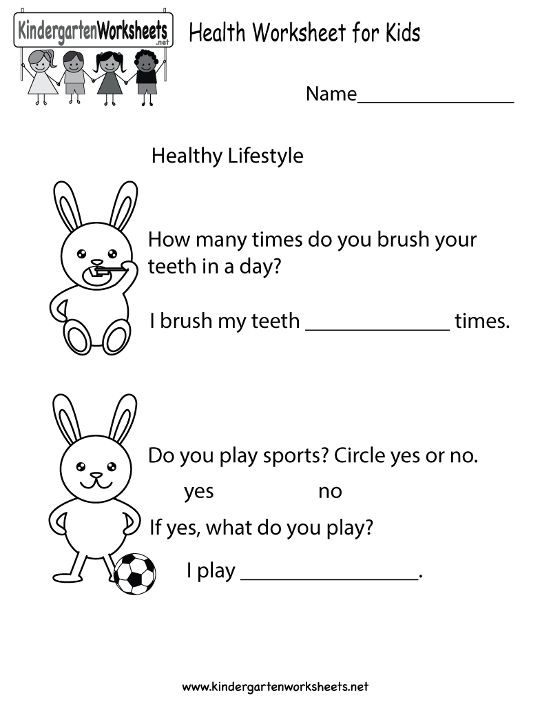 Health Worksheet  Free Kindergarten Learning Worksheet For Kids Along With Free Health Worksheets For Elementary Students