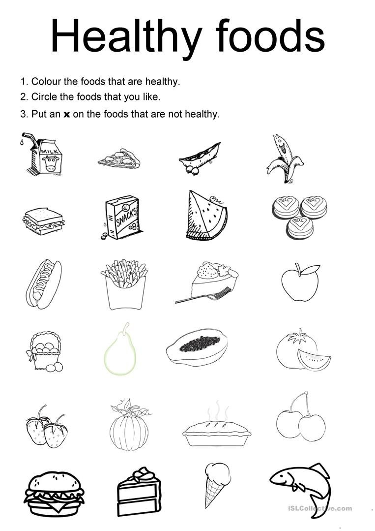 Healthy Foods Worksheet  Free Esl Printable Worksheets Madeteachers Intended For Free Health Worksheets For Elementary Students