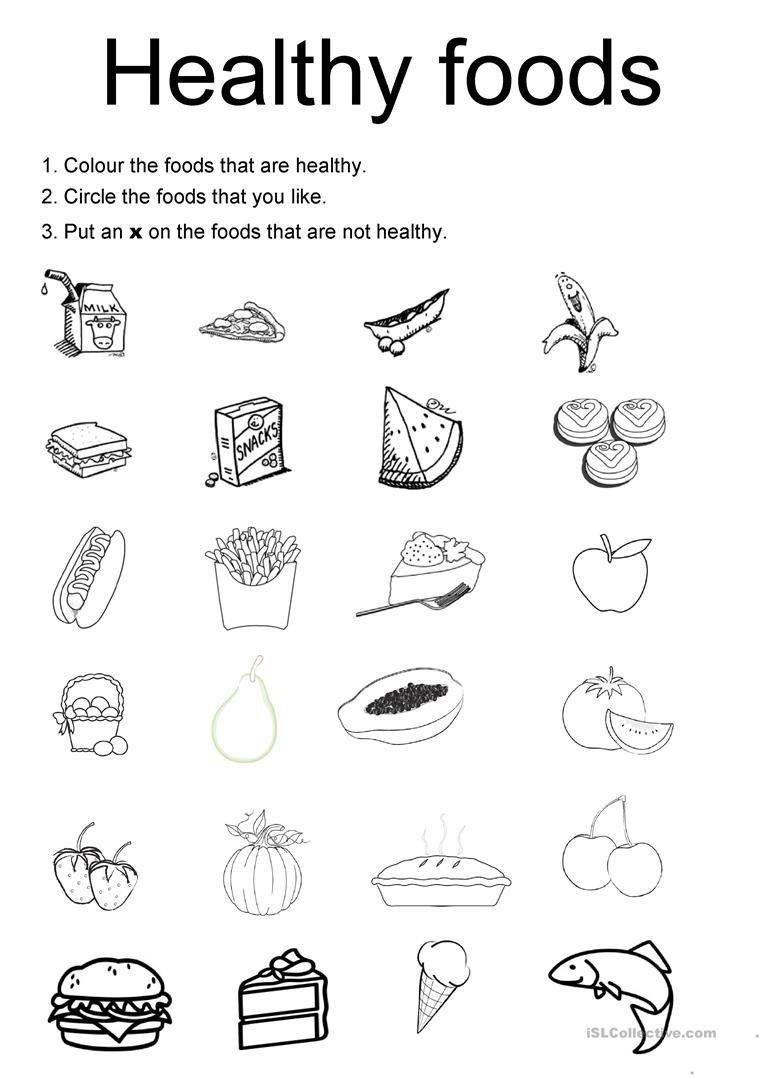 Healthy Foods Worksheet  Free Esl Printable Worksheets Madeteachers Within Free Health Worksheets For Elementary