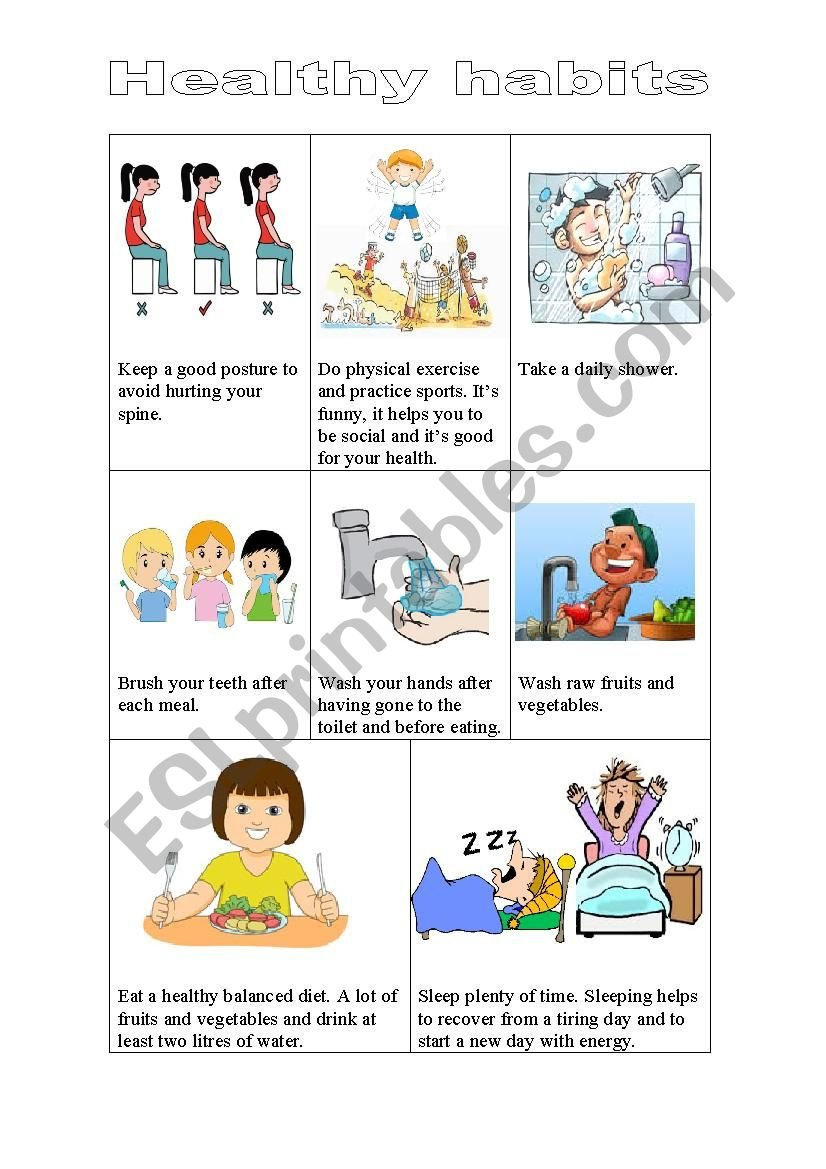 Healthy Habits  Esl Worksheetrisas With Healthy Habits Worksheets