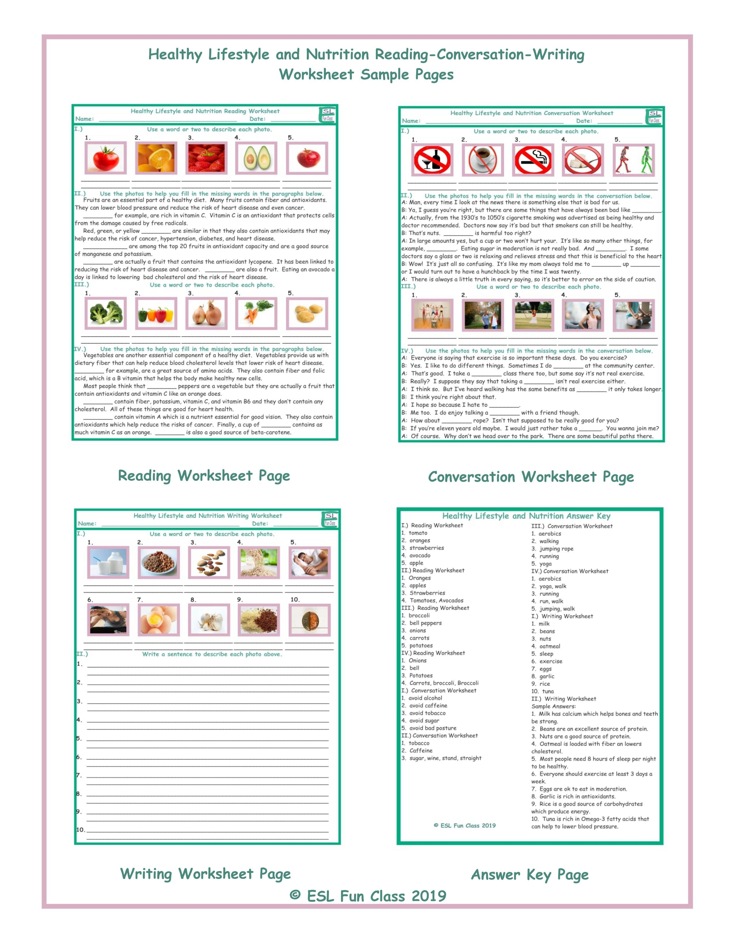 Healthy Lifestylenutrition Readingconversationwriting Worksheets Throughout Nutrition Worksheets Pdf