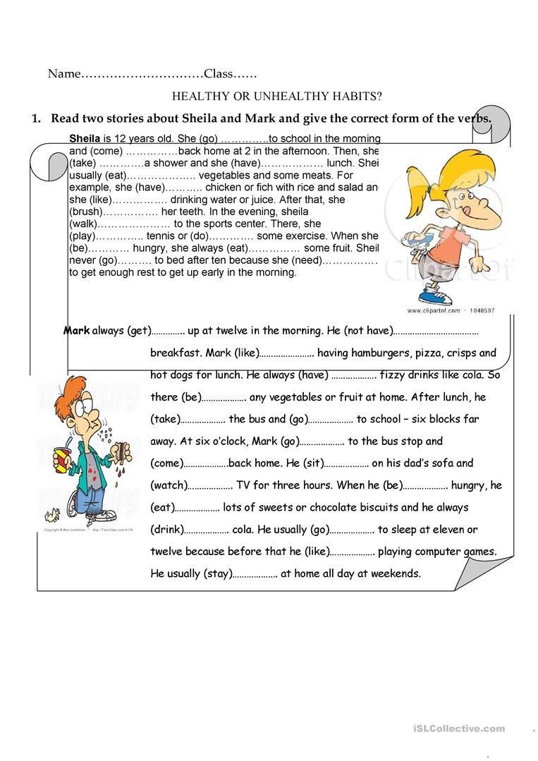 Healthy Or Unhealthy Habits Worksheet  Free Esl Printable And Healthy Habits Worksheets