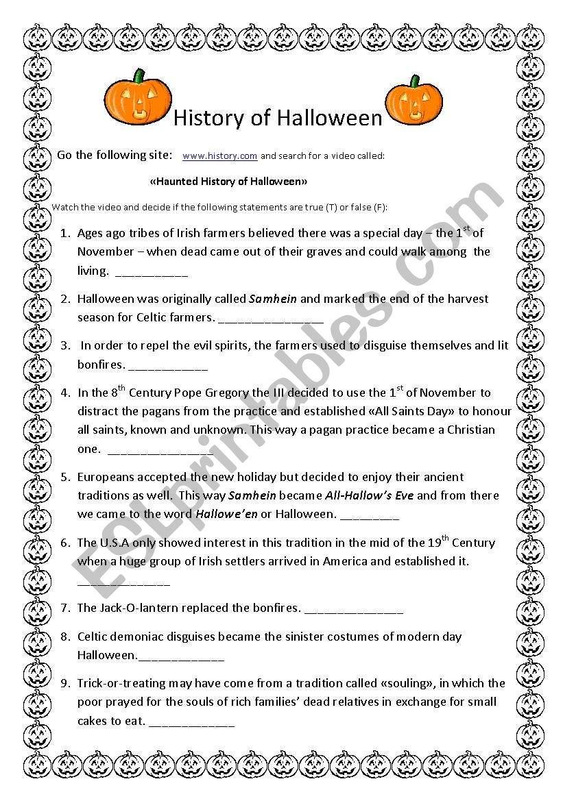 History Of Halloween  Esl Worksheetanyataide And History Of Halloween Worksheet Answers