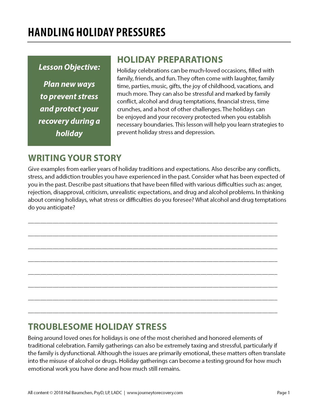Holidays And Recovery Worksheet  Yooob Throughout Coping With The Holidays Worksheet