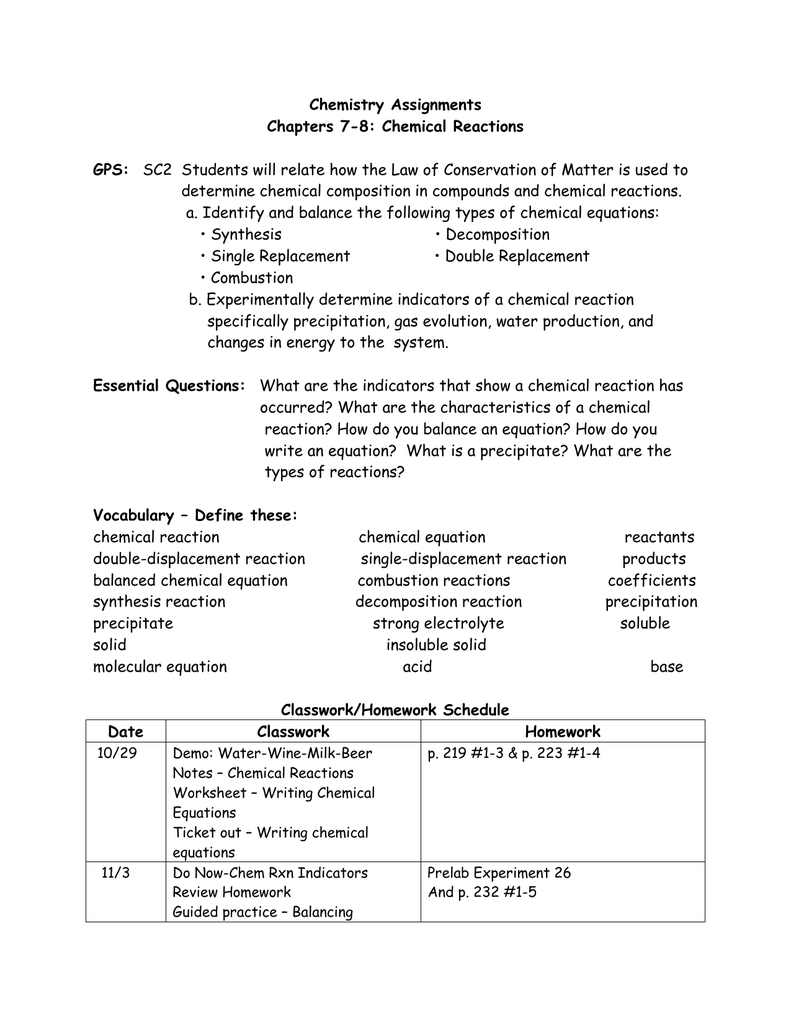 Honors Chemistry Assignments Chapters 78 And Types Of Chemical Reaction Worksheet Ch 7