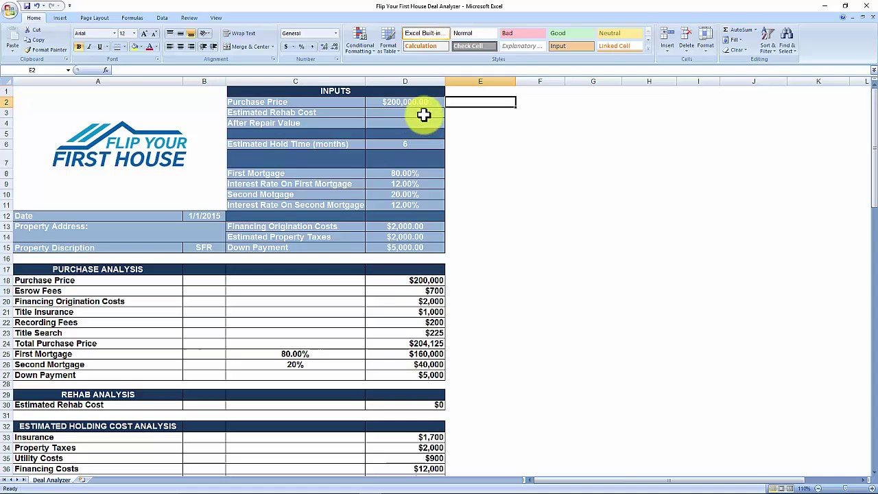 House Flipping Spreadsheet   Free Download   Youtube Together With Free House Flipping Spreadsheet Template