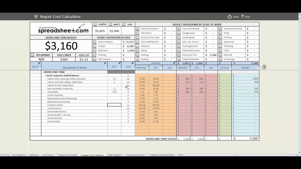 House Flipping Spreadsheet Speed Round - Youtube For Realdatas Pro Spreadsheet