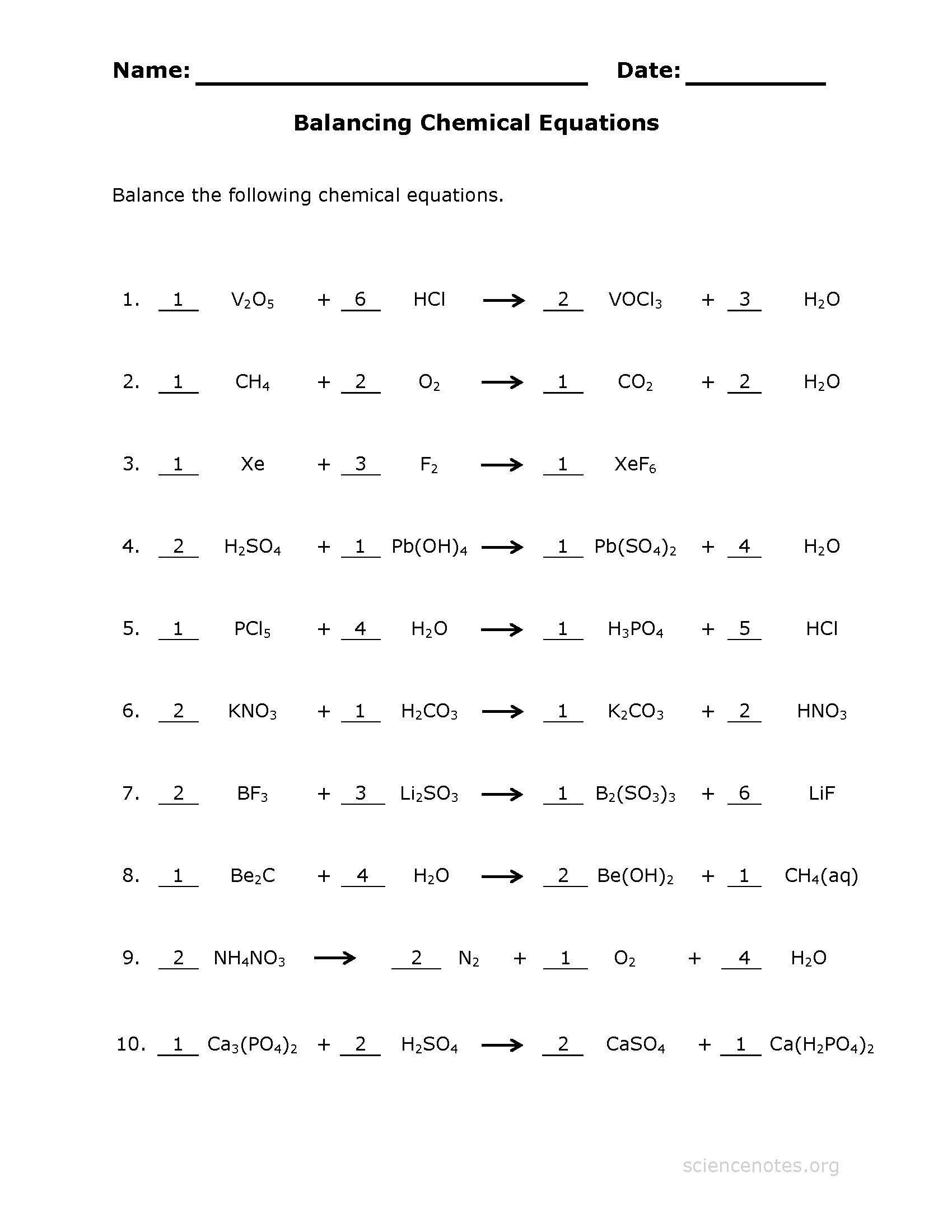 How To Balance Equations  Printable Worksheets Pertaining To Balancing Chemical Equations Worksheet Pdf