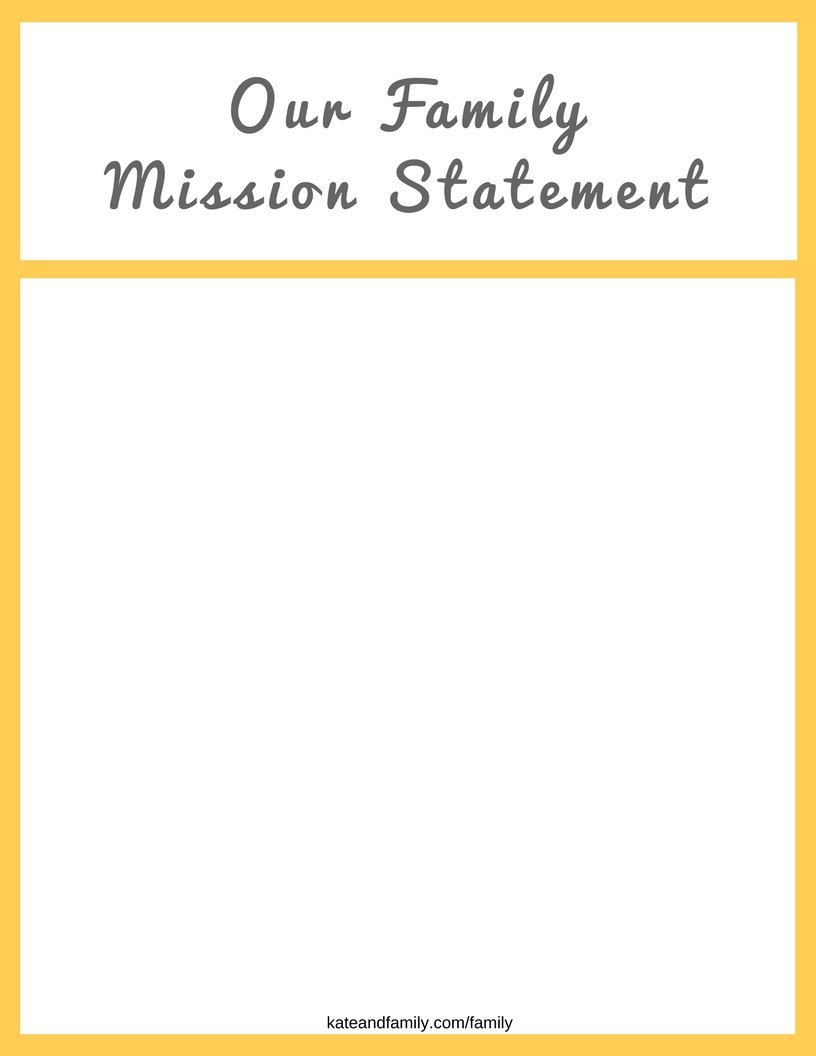 How To Build A Strong Family » Kate And Family Together With Family Mission Statement Worksheet