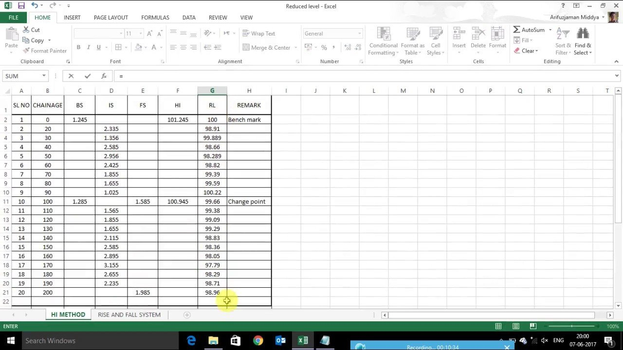 How To Calculate Reduced Level (R L) In Excel - Youtube Along With Quantity Surveyor Excel Spreadsheets