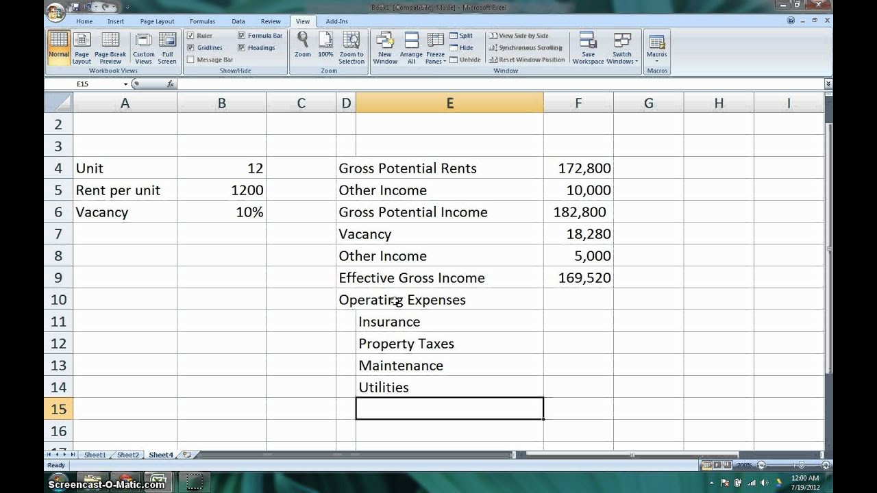 How To Calculate The Net Operating Income (Noi) & Cap Rate For Real ... Also Cap Rate Spreadsheet