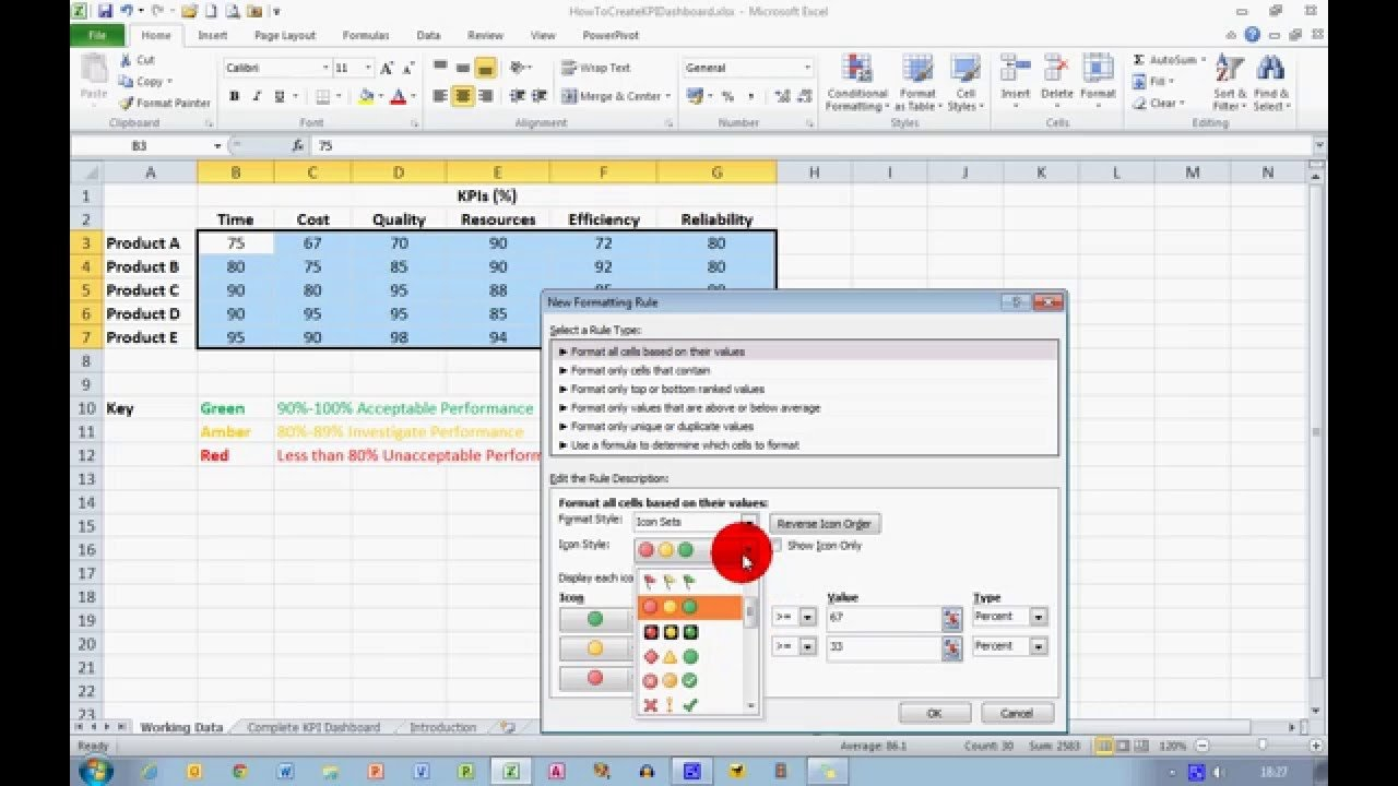 How To... Create A Basic Kpi Dashboard In Excel 2010   Youtube With Create A Kpi Dashboard In Excel
