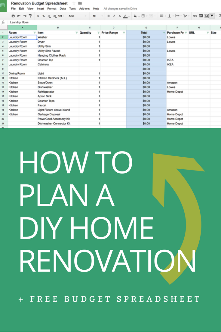 How To Plan A Diy Home Renovation   Budget Spreadsheet | Home ... Within House Renovation Costs Spreadsheet