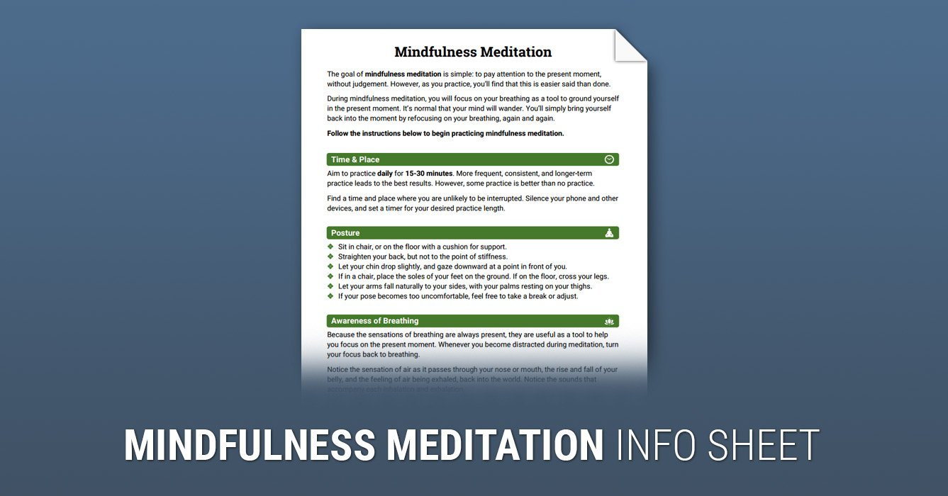 How To Practice Mindfulness Meditation Worksheet  Therapist Aid Also Meditation Worksheet Pdf