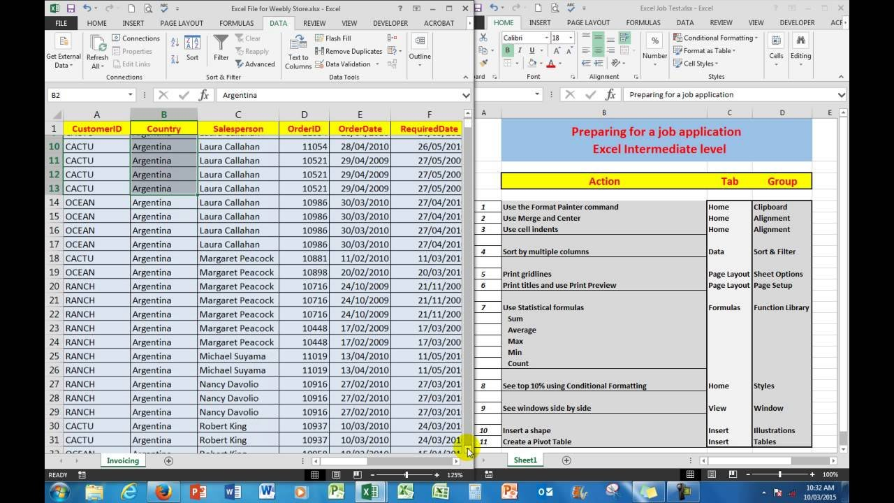 How To Prepare Excel Assessment Test  Intermediate Level For A Job ... Regarding Basic Spreadsheet Proficiency With Microsoft Excel