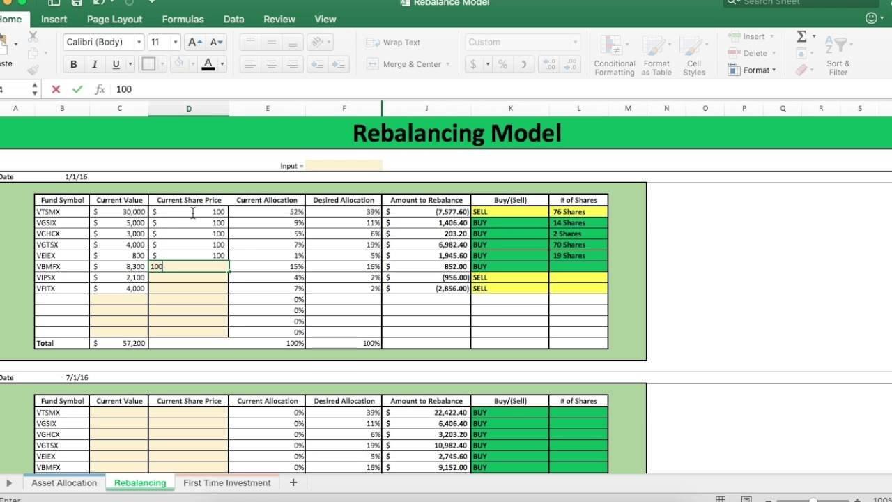 How To Rebalance Your Portfolio Using Rebalancing Model - Youtube Pertaining To Portfolio Rebalancing Excel Spreadsheet