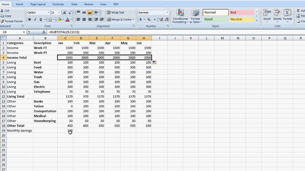How To Set Up A Totaling Spreadsheet In Excel : Tips For Microsoft ... In How To Set Up An Excel Spreadsheet