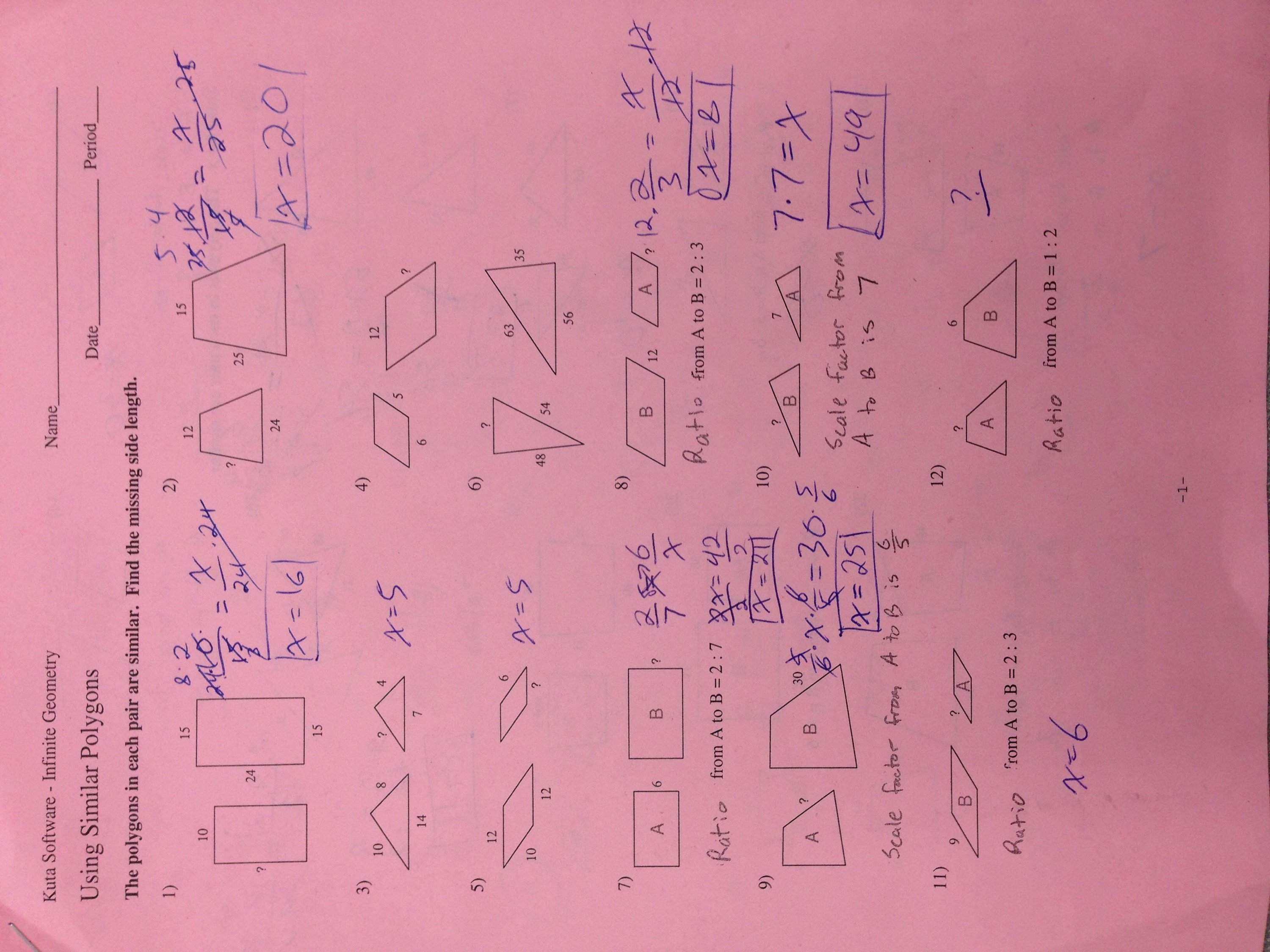 Hw2Using Similar Polygons  Mr Zs School Blog Or Similar Polygons Worksheet Answers
