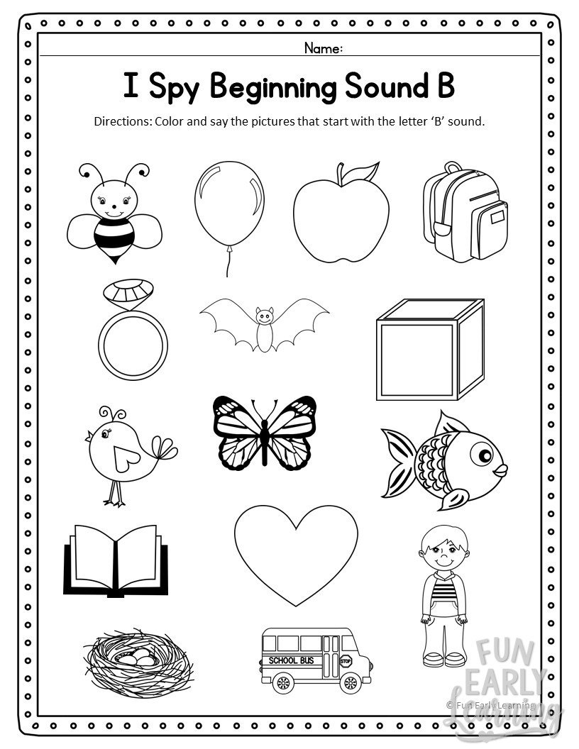 I Spy Beginning Sounds Activity  Free Printable For Speech And Apraxia Throughout Initial Sounds Worksheets