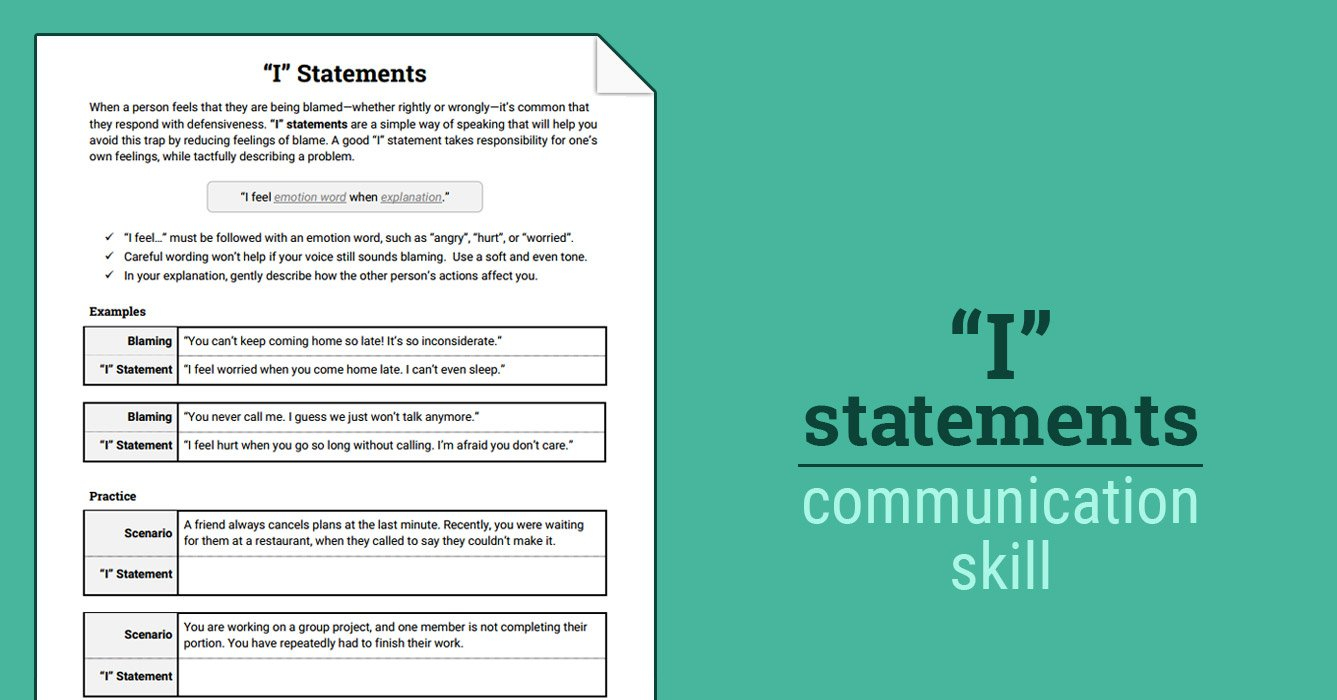 """I"""" Statements Worksheet  Therapist Aid With Assertive Communication Worksheet"""