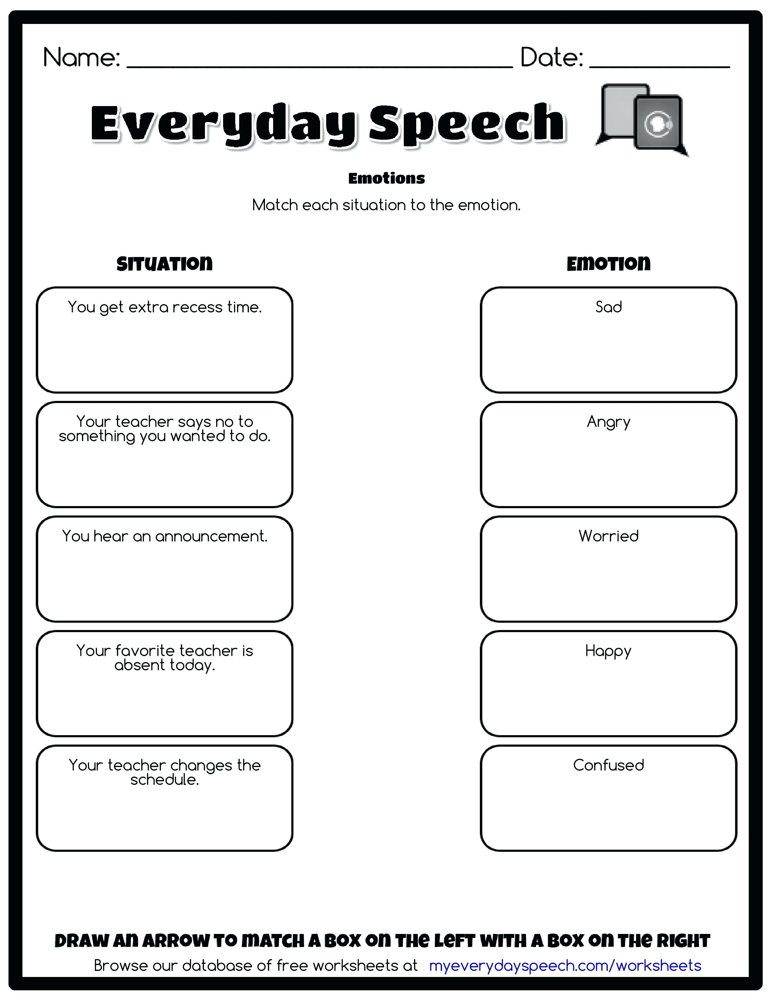Identifying Emotions Worksheet For Adults — excelguider.com