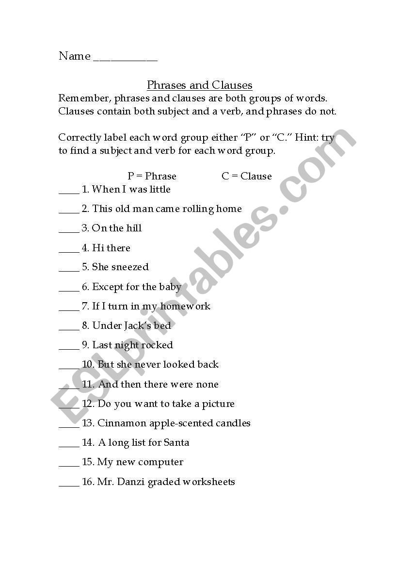 Identifying Phrases And Clauses Practice Sheet  Esl Worksheet For Phrases And Clauses Worksheets