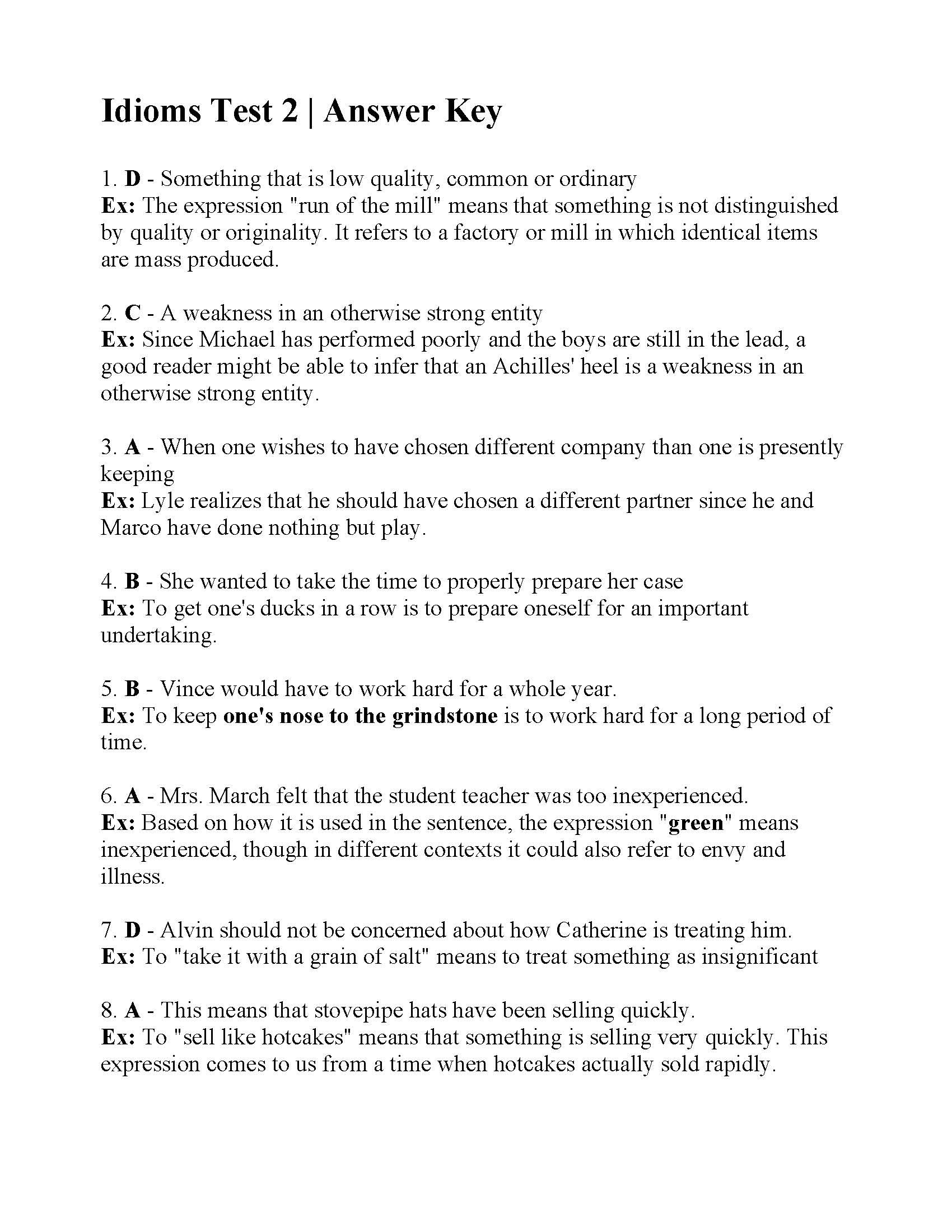 Idioms Test 2  Answers For Idioms Worksheets Pdf