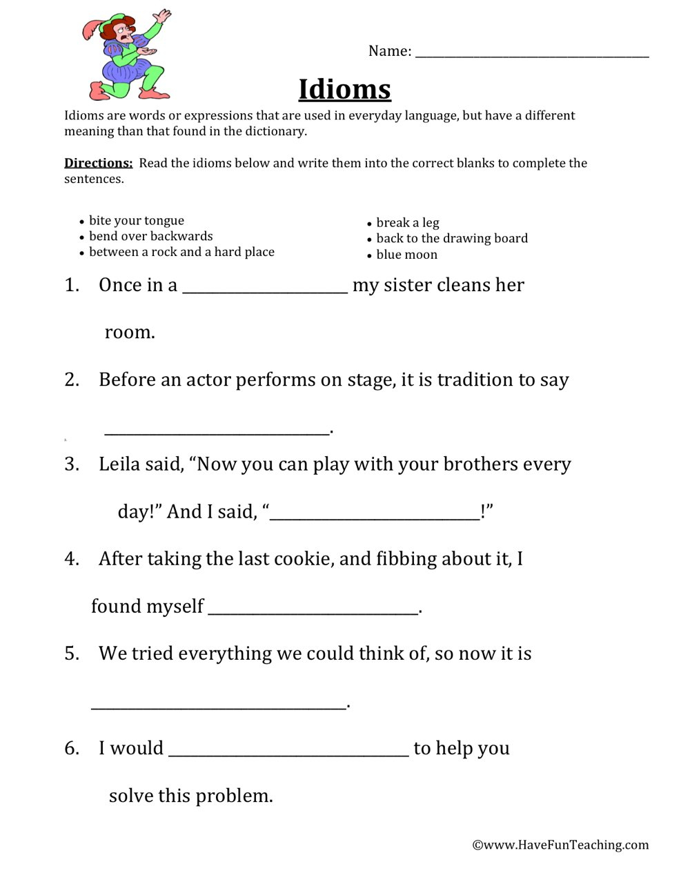 Idioms Worksheets  Have Fun Teaching Intended For Idioms Worksheets Pdf
