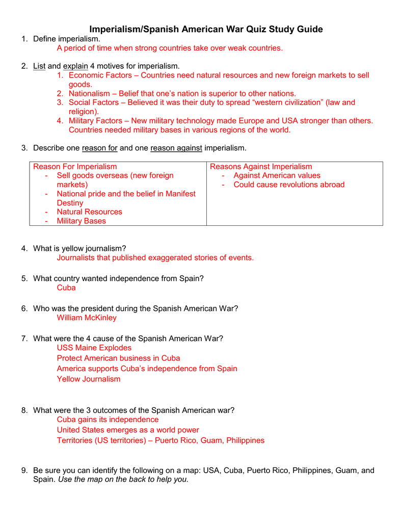 Imperialismspanish American War Quiz Study Guide For Spanish American War Worksheet Answers