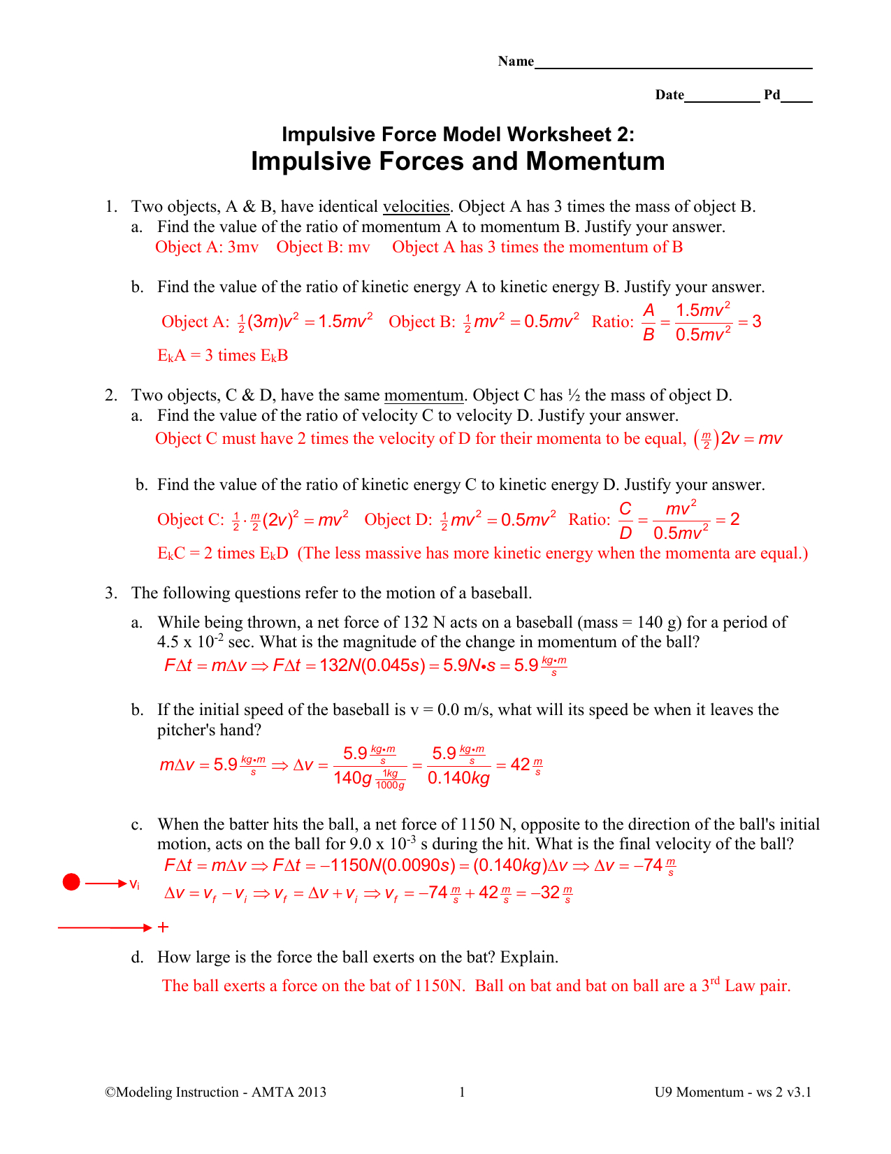 Impulsive Forces And Momentum Together With Momentum Worksheet Answers