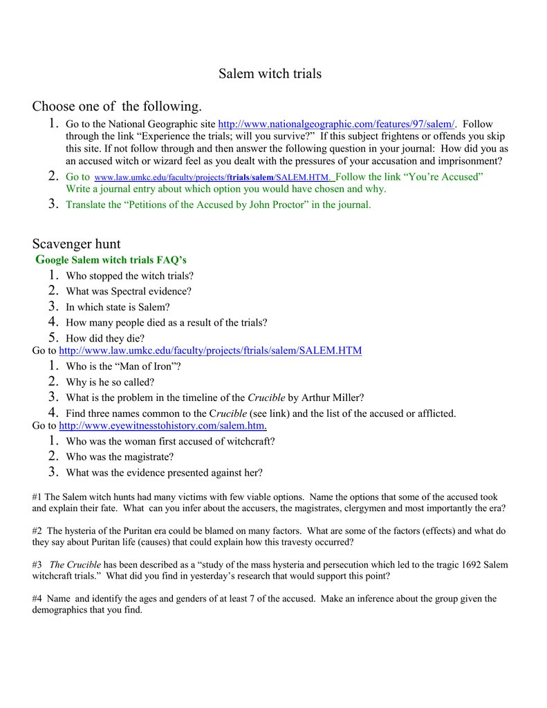 In Search Of History Salem Witch Trials Worksheet Answers  Yooob For In Search Of History Salem Witch Trials Worksheet Answers