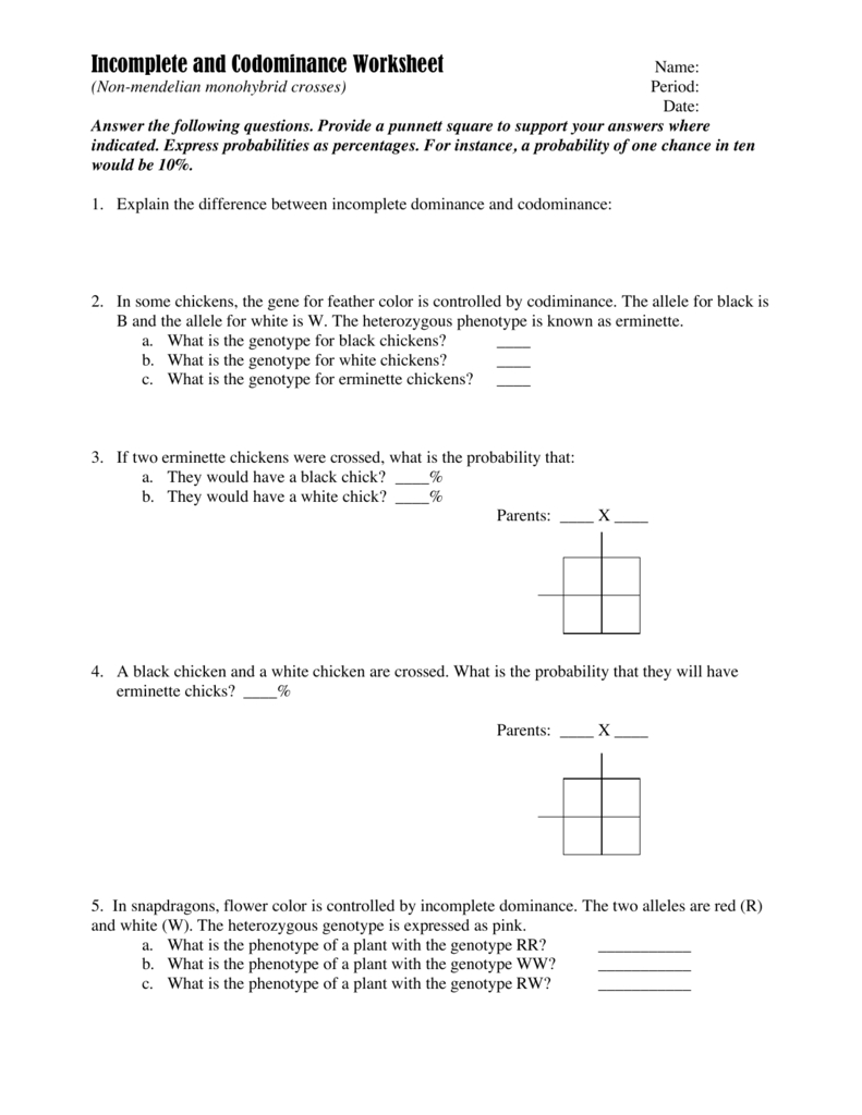 Incomplete And Codominance Worksheet With Regard To Incomplete Dominance And Codominance Worksheet Answer Key