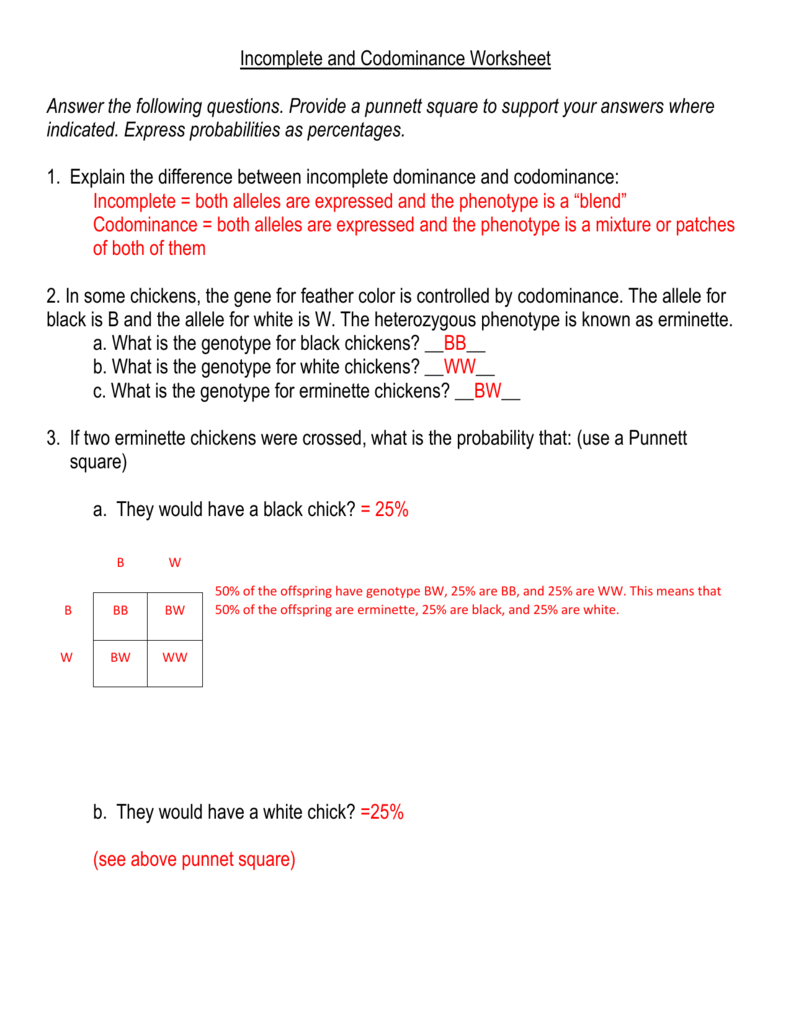 Incompleteandcodominance Along With Incomplete Dominance And Codominance Worksheet Answer Key