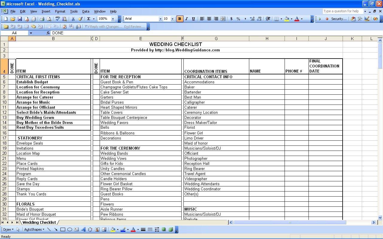Indian Wedding Checklist Excel | Veenvendelbosch Regarding Indian Wedding Checklist Excel Spreadsheet