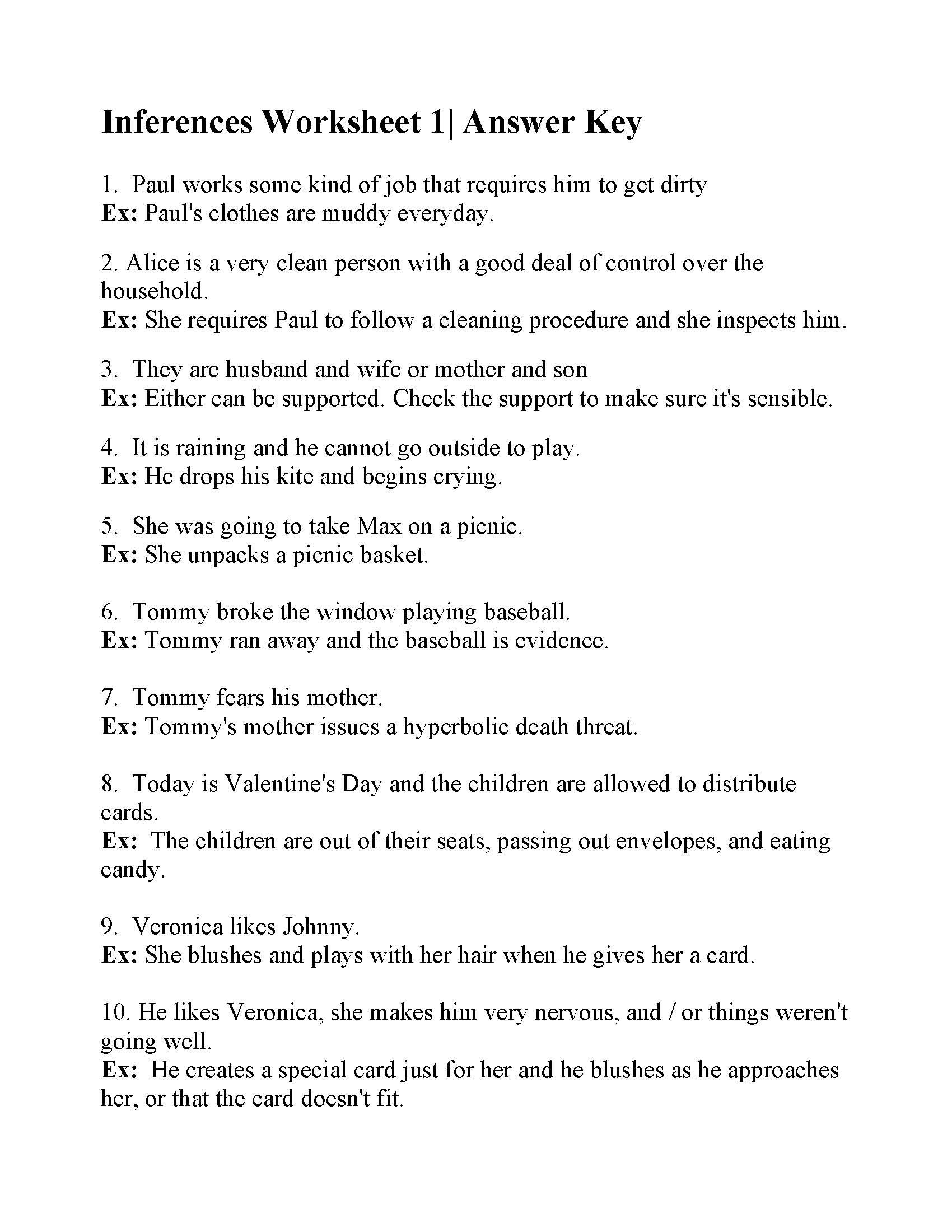 Inferences Worksheet 1  Answers As Well As Observation And Inference Worksheet Answer Key
