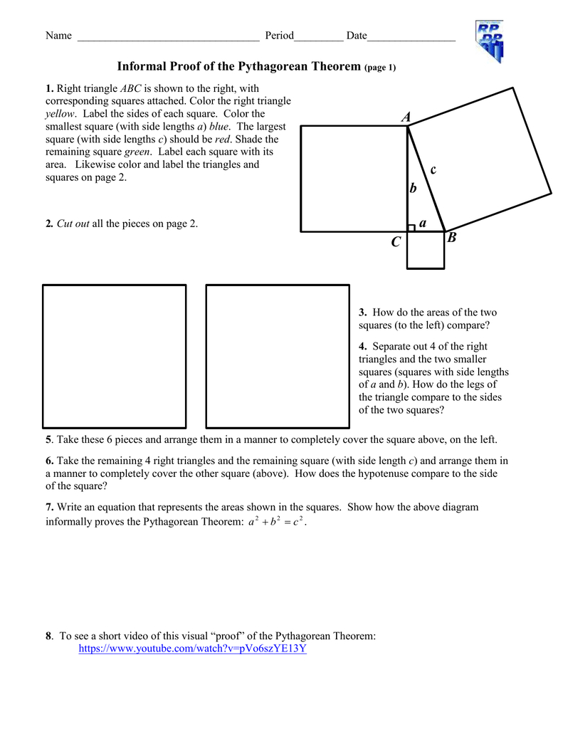 Informal Proof Of The Pythagorean Theorem Along With Pythagorean Theorem Coloring Worksheet