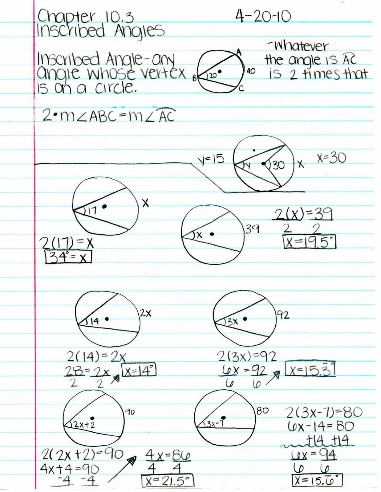 Inscribed Angles Worksheet  Briefencounters And Inscribed Angles Worksheet