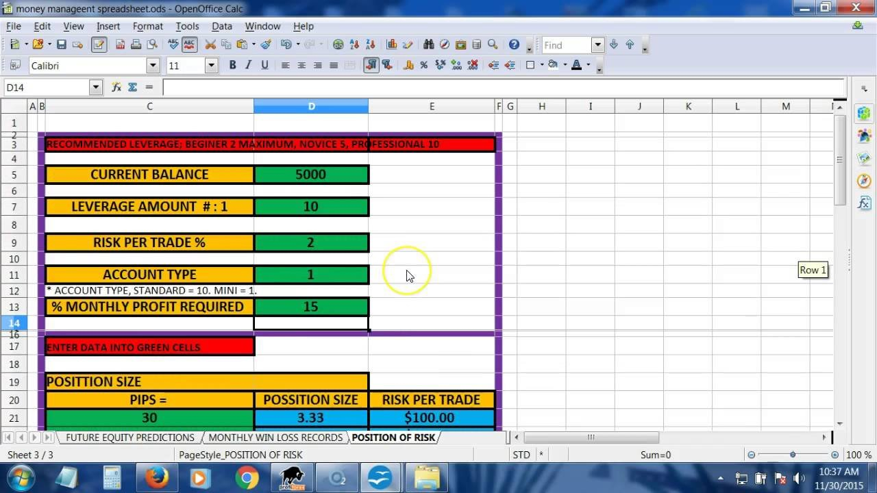 Instructions: Money Management Spreadsheet   Youtube With Forex Risk Management Excel Spreadsheet