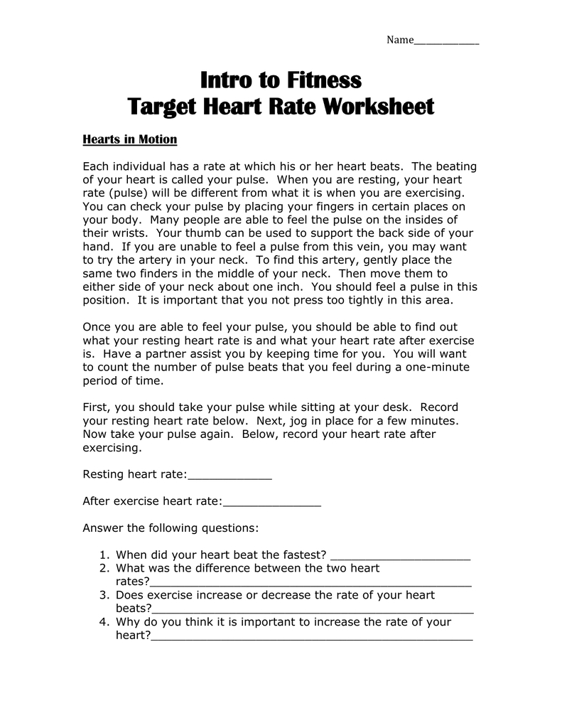 Intro To Fitness Target Heart Rate Worksheet Hearts In Motion Regarding Heart Rate Activity Worksheet Answers