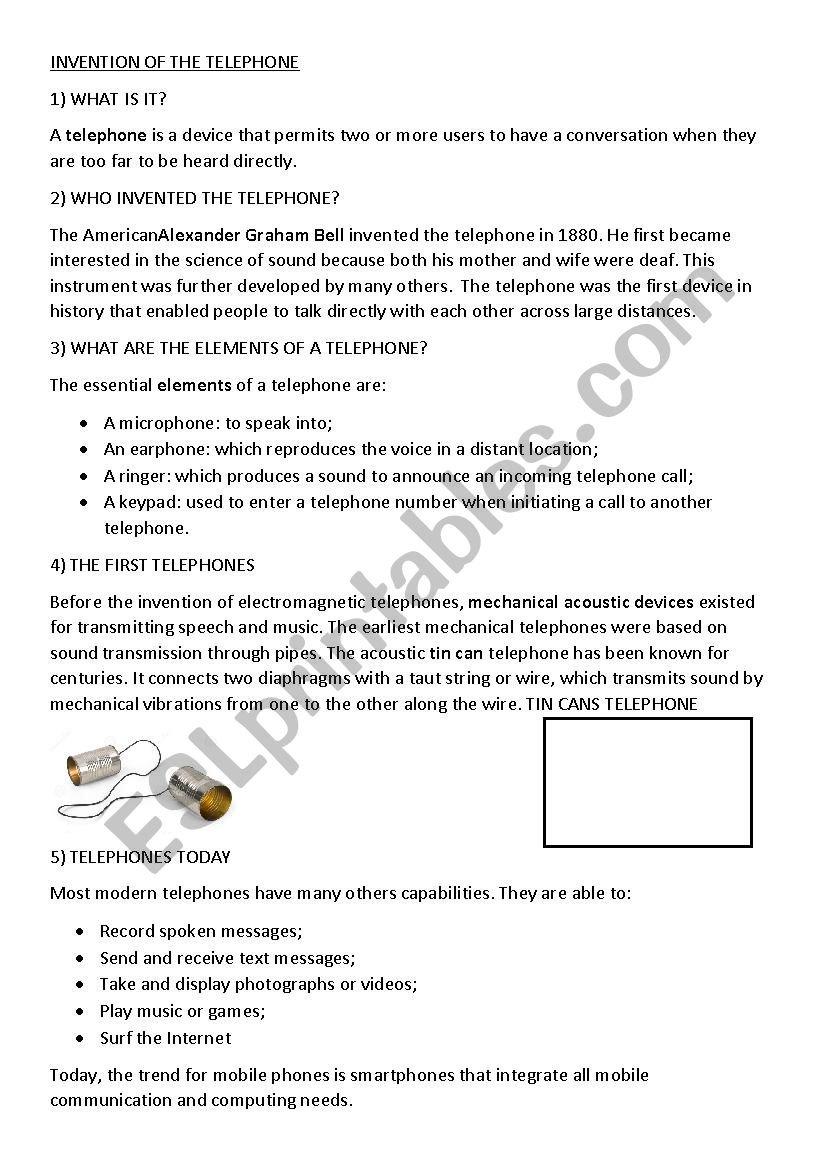 Invention Of The Telephone  Esl Worksheetgeraldine37907745 With String Telephone Worksheet
