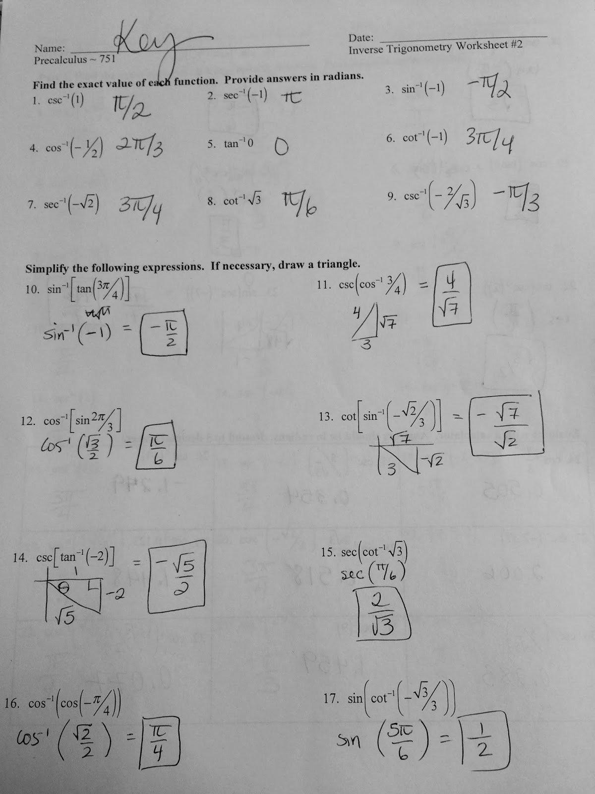 Inverse Functions Worksheet Precalculus The Best Worksheets Image In Precalculus Inverse Functions Worksheet Answers